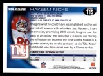 2010 Topps #115  Hakeem Nicks  Back Thumbnail