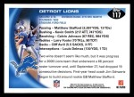 2010 Topps #117   -  Matthew Stafford / Kevin Smith Lions Team Back Thumbnail