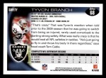 2010 Topps #68  Tyvon Branch  Back Thumbnail