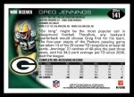 2010 Topps #141  Greg Jennings  Back Thumbnail
