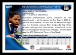 2010 Topps #108  Brandon Meriweather  Back Thumbnail