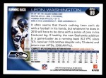 2010 Topps #89  Leon Washington  Back Thumbnail