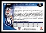 2010 Topps #38  Anthony Gonzalez  Back Thumbnail
