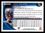 2010 Topps #110  Wes Welker  Back Thumbnail