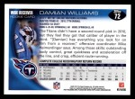 2010 Topps #72  Damian Williams  Back Thumbnail