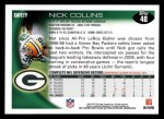 2010 Topps #48  Nick Collins  Back Thumbnail