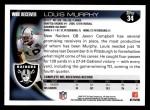 2010 Topps #34  Louis Murphy  Back Thumbnail