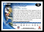 2010 Topps #14  Kevin Smith  Back Thumbnail