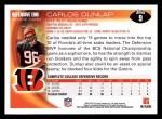 2010 Topps #9  Carlos Dunlap  Back Thumbnail