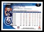 2010 Topps #1  Peyton Manning  Back Thumbnail