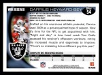 2010 Topps #54  Darrius Heyward-Bey  Back Thumbnail