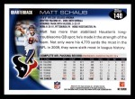 2010 Topps #140  Matt Schaub  Back Thumbnail