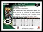 2010 Topps #65  Nick Barnett  Back Thumbnail