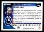 2010 Topps #144  Peyton Manning  Back Thumbnail