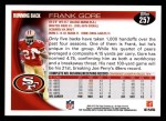 2010 Topps #257  Frank Gore  Back Thumbnail