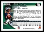 2010 Topps #244  Mike Kafka  Back Thumbnail