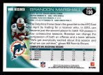 2010 Topps #190  Brandon Marshall  Back Thumbnail