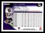 2010 Topps #160  Ray Lewis  Back Thumbnail