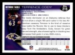2010 Topps #215  Terrence Cody  Back Thumbnail