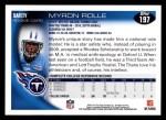 2010 Topps #197  Myron Rolle  Back Thumbnail