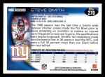 2010 Topps #270  Steve Smith  Back Thumbnail