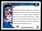 2010 Topps #287  Ryan Clady  Back Thumbnail