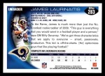 2010 Topps #283  James Laurinaitis  Back Thumbnail