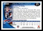 2010 Topps #211  Paul Posluszny  Back Thumbnail