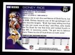 2010 Topps #251  Sidney Rice  Back Thumbnail
