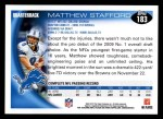 2010 Topps #183  Matthew Stafford  Back Thumbnail