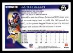2010 Topps #243  Jared Allen  Back Thumbnail