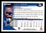 2010 Topps #200  Tony Romo  Back Thumbnail