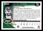 2010 Topps #185  David Harris  Back Thumbnail