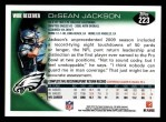 2010 Topps #223  DeSean Jackson  Back Thumbnail