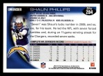 2010 Topps #284  Shaun Phillips  Back Thumbnail