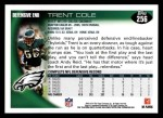 2010 Topps #256  Trent Cole  Back Thumbnail