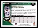 2010 Topps #191  Braylon Edwards  Back Thumbnail