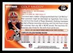 2010 Topps #194  Colt McCoy  Back Thumbnail