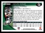 2010 Topps #189  Kevin Kolb  Back Thumbnail