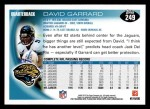2010 Topps #249  David Garrard  Back Thumbnail