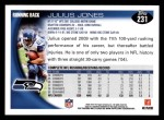 2010 Topps #231  Julius Jones  Back Thumbnail