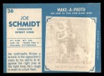 1961 Topps #36  Joe Schmidt  Back Thumbnail
