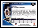 2010 Topps #164  Donnie Avery  Back Thumbnail