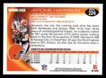 2010 Topps #224  Jerome Harrison  Back Thumbnail