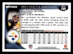 2010 Topps #280  Ben Roethlisberger  Back Thumbnail
