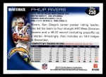 2010 Topps #250  Philip Rivers  Back Thumbnail