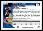 2010 Topps #234  Greg Olsen  Back Thumbnail