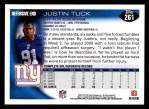 2010 Topps #261  Justin Tuck  Back Thumbnail
