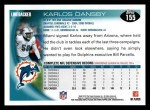 2010 Topps #155  Karlos Dansby  Back Thumbnail