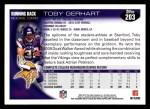 2010 Topps #203  Toby Gerhart  Back Thumbnail